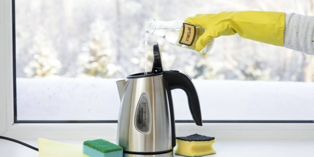 cleaning a kettle with vinagar